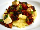 Peel-Yourself-off-the-Couch Roasted Tomatoes and Mozzarella over Creamy Polenta