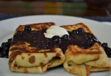 Blueberry Blintzes with Honey Ricotta Filling