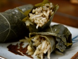 Stuffed Grape Leaves with Rice, Currants and Herbs